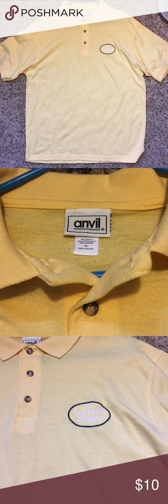"""Men's Polo shirt. Yellow Polo shirt with """"Louisville Slugger"""" embroidered on front. Never worn. No stains or wear. anvil Shirts Polos"""