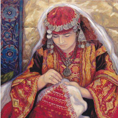 لوحة الخياطة  للفنانة التشكيلية الفلسطينية ايرينا كركبي