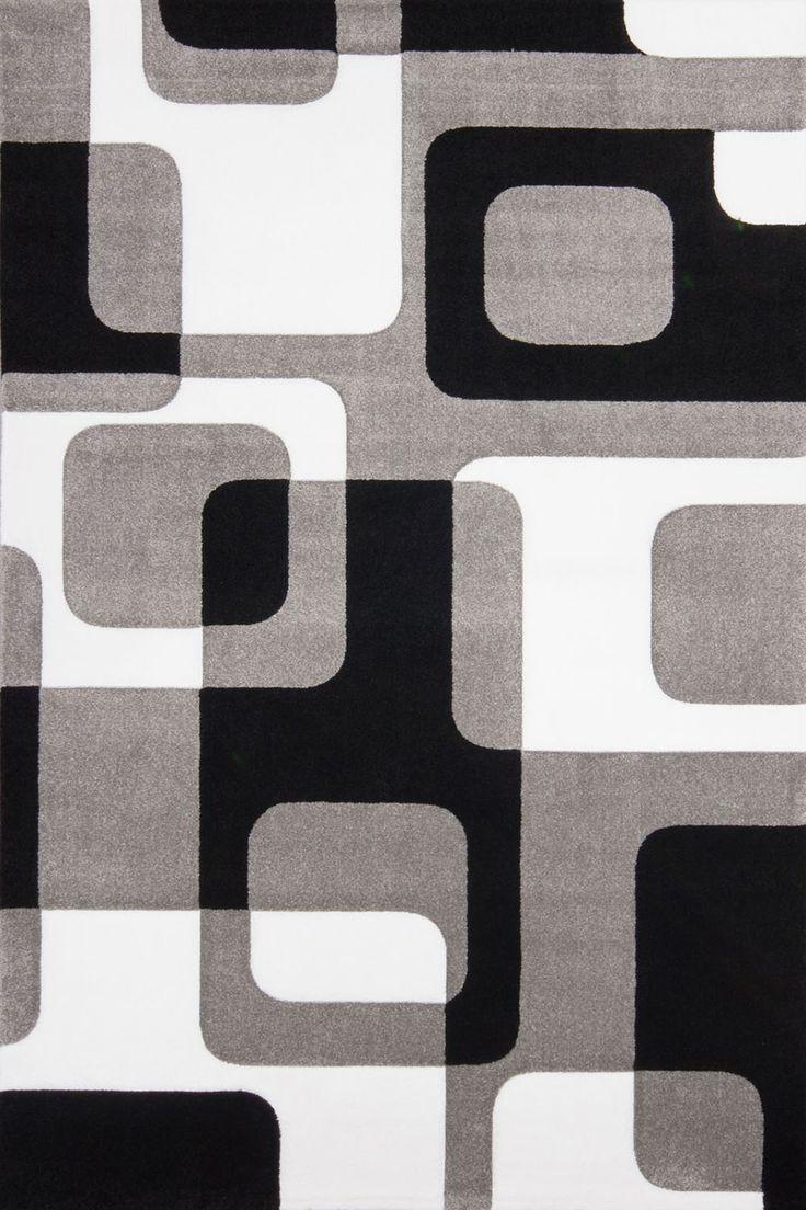 Raumbild von Retro Teppich Maime Silber / Schwarz