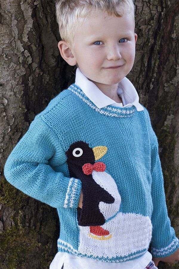 8dd5d6f8f Free Knitting Pattern for Penguin Pullover - Long-sleeved child s sweater  with a cute penguin who hides a convenient pocket. Sizes 2