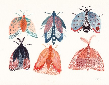 insect group- watercolor by united thread