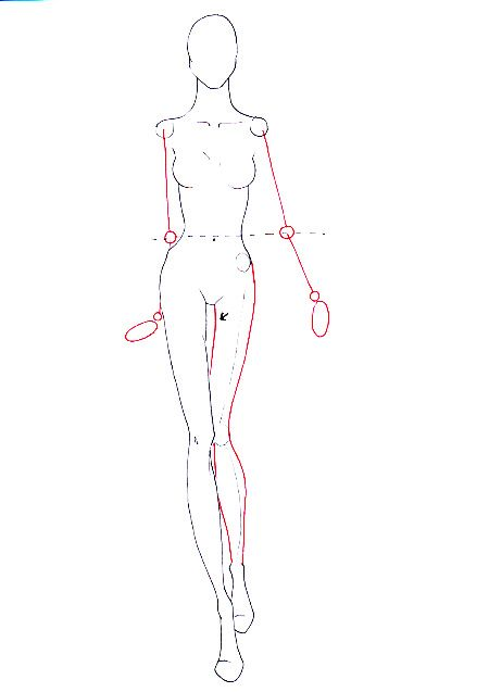 How to draw walking pose step 10