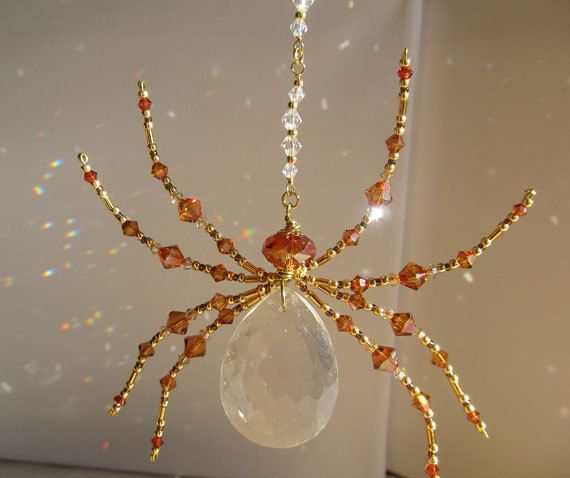 Beaded  Crystal Spider - Vintage & Austrian Crystal - Dazzling Spider Sun Catcher – Copper Color by TheUncommonSpider on Etsy