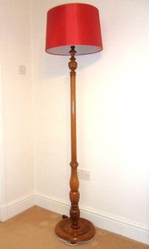 Vintage Standard Floor Lamp with lovely carved details, medium oak finish | eBay