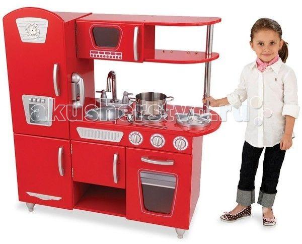 KidKraft Детская игрушечная кухня из дерева Винтаж  KidKraft Детская игрушечная кухня из дерева Винтаж. Какая девочка не мечтает о своей собственной кухне, пусть даже игрушечной?  Игрушечная кухня Винтаж Kidkraft будет самым удачным подарком для вашей дочки.  Кухня состоит из газовой плиты, духовки, микроволновой печи, мойки для посуды, холодильника и морозильной камеры. Верхняя и нижняя часть комплекта дополнены полочками.   В стильном дизайне игровой кухни отсутствуют прямые линии и острые…