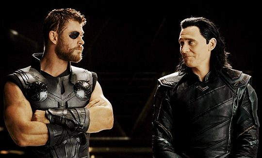 Thor and Loki in Thor: Ragnarok (2017) Looks like a Loki reaction to pirate Thors eye patch.