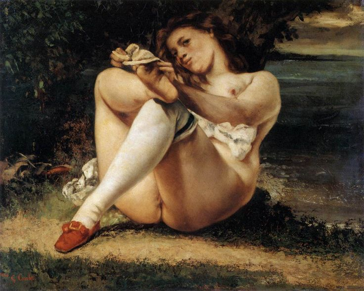Courbet,_Gustave_Les Bas Blancs, (Woman with White Stockings), ca 1861 (Barnes Foundation)