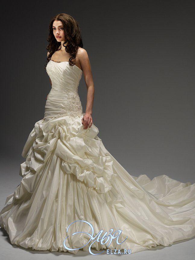 Cвадебное платье 11715: а-силуэт, длинное платье, с вырезом сердечком, с пышной юбкой, со шлейфом, модель до 2016 года, без рукавов, платье, в ограниченном количестве, турнюр, основная ткань: тафта