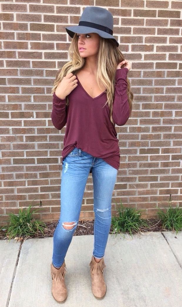 fall burgundy and booties