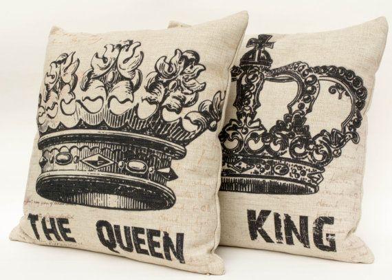 """Set of 2 Cotton linen crown decorative couple pillow case/ cushion cover 16""""-18"""""""