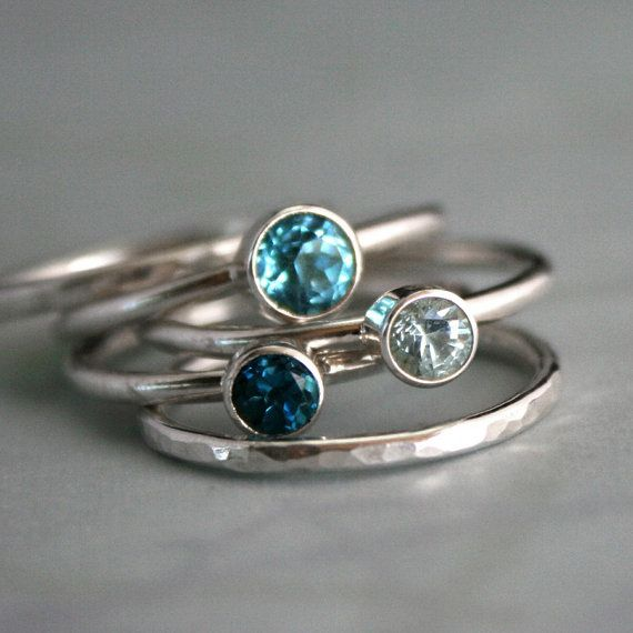 Ocean Blue Stacking Rings Topaz & Aquamarine, Sterling Silver, Stackable Ring Band, Stack Ring, Statement Rings on Etsy, $129.02 CAD