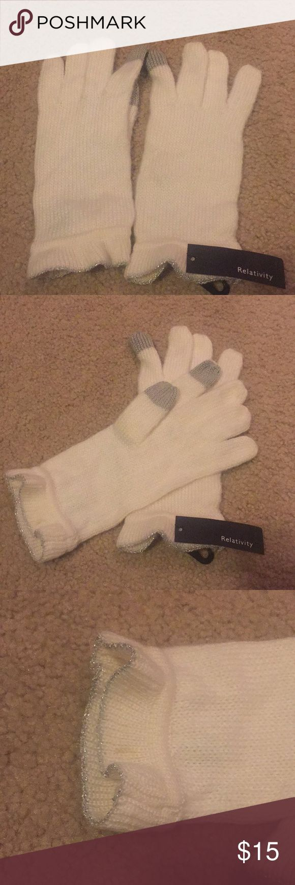 Cream gloves NWT cream gloves with silver lining around wrist. Grey fingertips are smart phone enabled. Beautiful for the winter months, would be the perfect gift! Relativity Accessories Gloves & Mittens