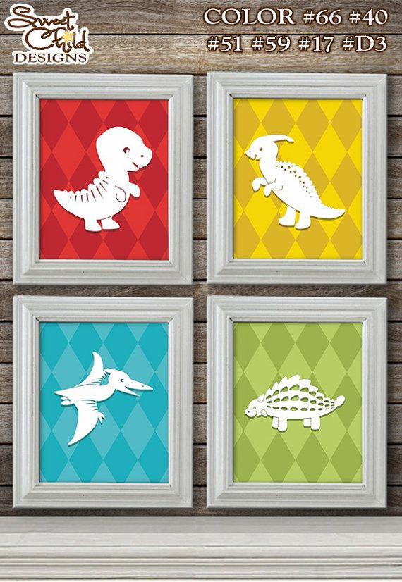 Dinosaur Art for Baby Nursery Dinosaur Room. You could use scrap book paper and trace the shapes on white.  Paint inexpensive Dollar Tree frames