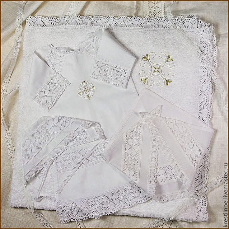 Купить Комплект на Крестины с полотенцем, модель Ольга - крестильная рубашка, крестильный набор, крестильный комплект