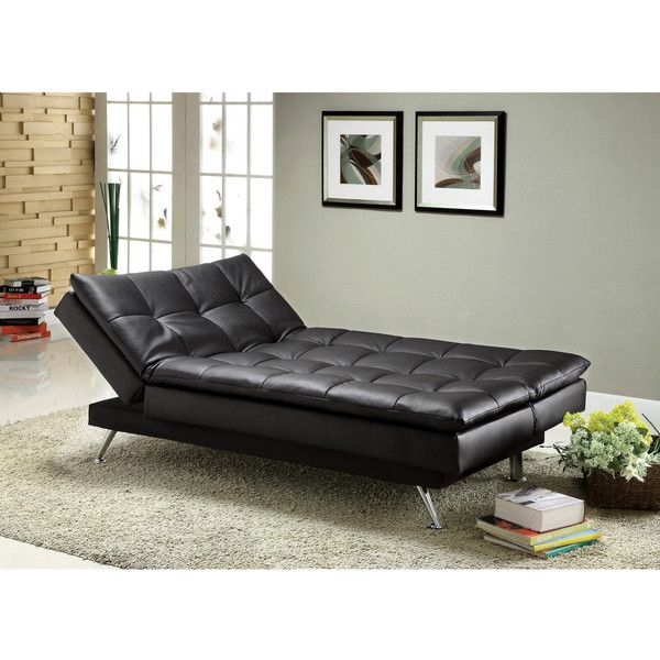 Furniture of America Stabler Comfortable Black Futon Sofa Bed ($589) ❤ liked on Polyvore featuring home, furniture, sofas, black, black futons, faux leather bed, black bed, black couch and faux leather sofa
