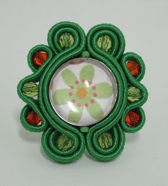 green soutache ring
