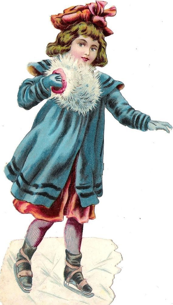 Oblaten Glanzbild scrap die cut  chromo  Kind child  Winter  17cm  Eis ice