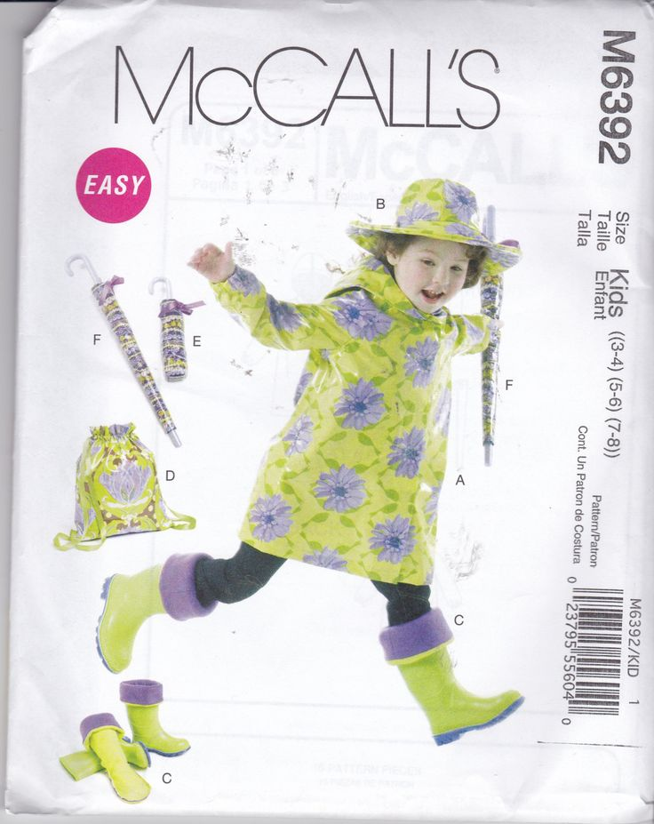 RARE, NEW & UNCUT, McCalls 6392 is for a Childrens Raincoat, Hat, Boot Liners, Backpack, and Umbrella Cases!!! A Easy to sew pattern. by TreasuresFromGranny on Etsy
