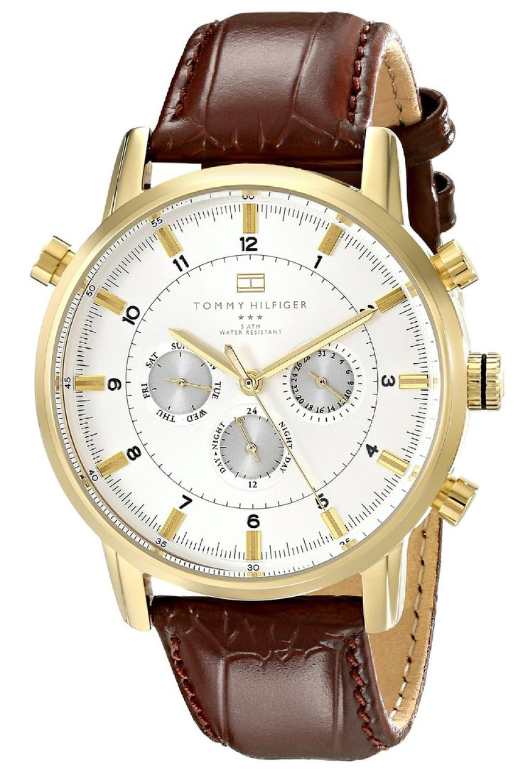 Tommy Hilfiger Men's 1790874 Gold-Tone Watch with Brown Leather Band >>> You can get more details by clicking on the image.