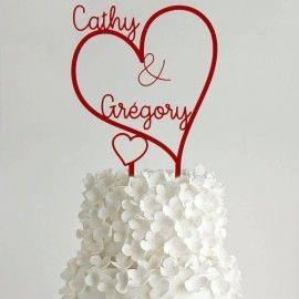 Cake topper mariage personnalisé Prénoms Coeurs
