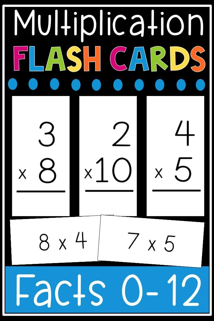 Multiplication Flash Cards Math Facts 0 12 Flashcards Printable