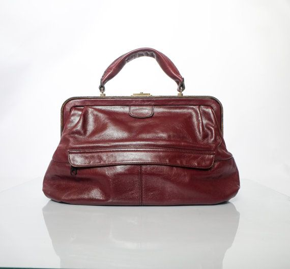 Rare Vintage ,absolutely unique brown Genuine Leather handbag. Burgundy, maroon/ dark cherry  doctor bag. Fantastic handbag,Top Handle Bag
