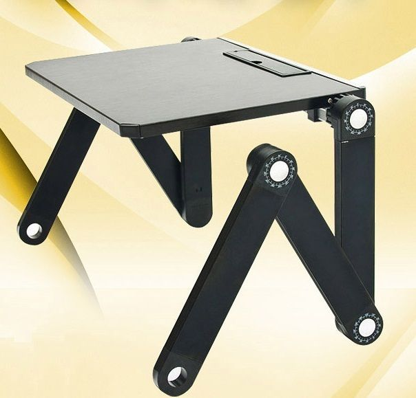 Laptop PC Notebook Adjustable Folding Desk Stand Table Tray for Bed, Sofa- Black