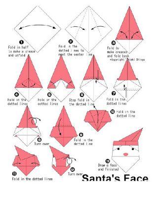 Cara de Papa Noel en papiroflexia