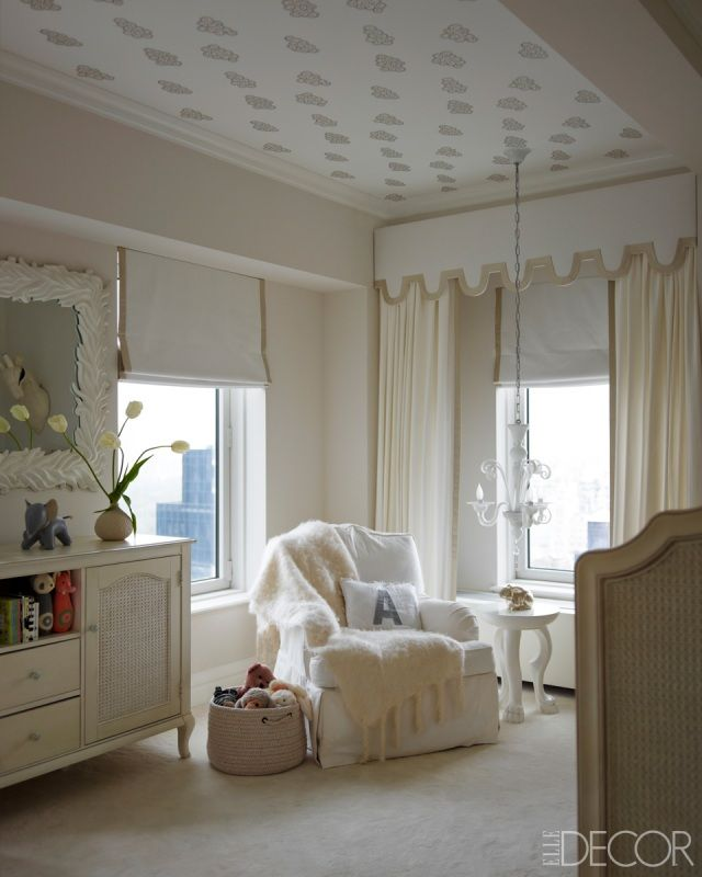 beautiful nursery: Ideas, Elle Decor, Ceiling, Window Treatments, Neutral Nurseries, Baby Rooms, Ivanka Trump, Baby Nurseries, Kids Rooms