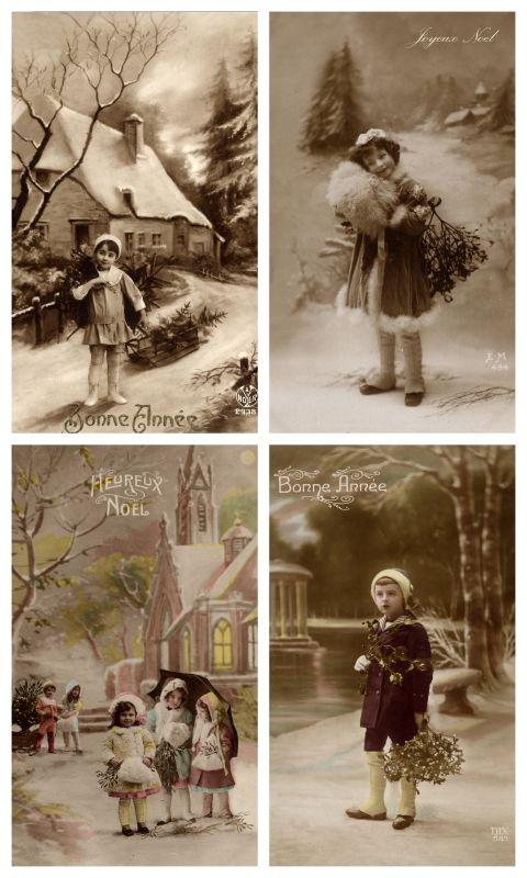 Sheet buiten spelen | Sheets postkaarten KERST | Nostalgie & Brocante