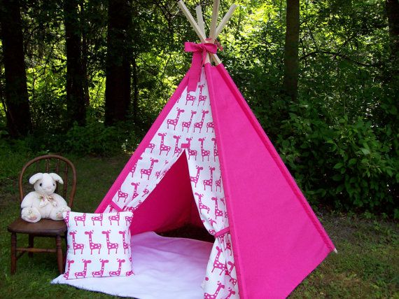 Teepee Pink and White Giraffe with Bow Kids play tent Childs foldaway teepee : girly tents - memphite.com