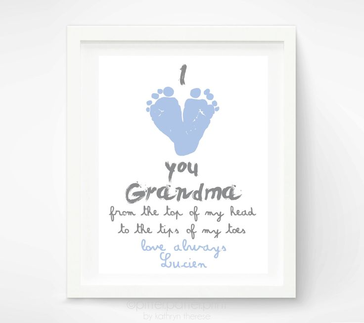 Personalized Mothers Day Gift for Grandma - I Love you Grandma Baby footprint Art - Gift for Grandmother - Gift for New Grandma. $30.00, via Etsy.