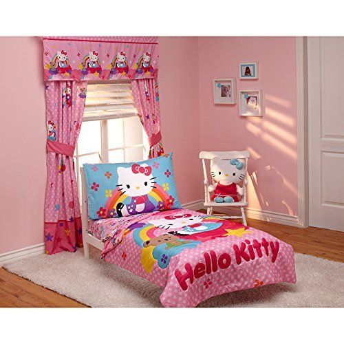 Hello Kitty Stars and Rainbows 4-piece Toddler Bedding Set //Price: $45.95 & FREE Shipping // World of Hello Kitty https://worldofhellokitty.com/product/hello-kitty-stars-and-rainbows-4-piece-toddler-bedding-set/    #giftshop