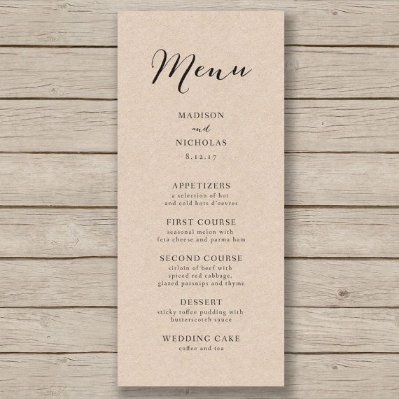 Wedding Menu Template Rustic Wedding Menu von HopeStreetPrintables                                                                                                                                                                                 More