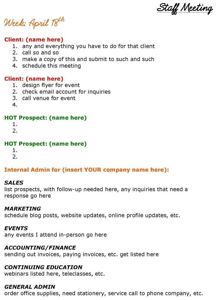 Solopreneurs Need Staff Meetings Too! See this staff meeting agenda designed just for solopreneurs.