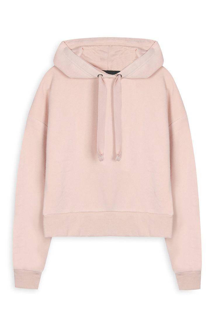 Sudadera corta rosa con capucha