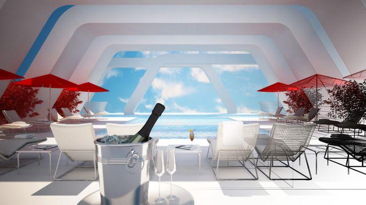 Criar diferentes ambientes de um hotel altamente sofisticado para ilustrar ambientes musicais distintos de uma radio online.   -  Pool Terrace