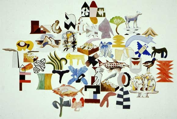 Richard Killeen: Born alive in New Zealand, 1985, alkyd on aluminium, 44 pieces, variable hanging