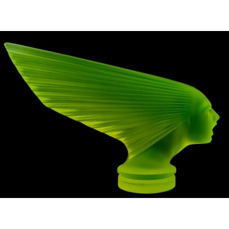 Antique Bohemian Art Deco Vaseline Glass Car Mascot VICTOIRE Design H.Hoffmann