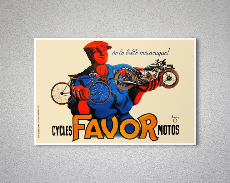 Cycles Favor Motos Vintage Motorcycle  Poster, 1937
