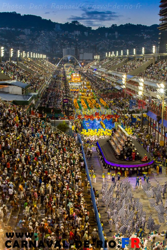 Sambódromo da Marquês de Sapucaí in Rio de Janeiro, RJ  Rio Carnival, Rio de Janeiro, Brazil. Dating back to the early 18th century, this massive street parade sees 2 million people per day take to the streets in elaborate samba parades.