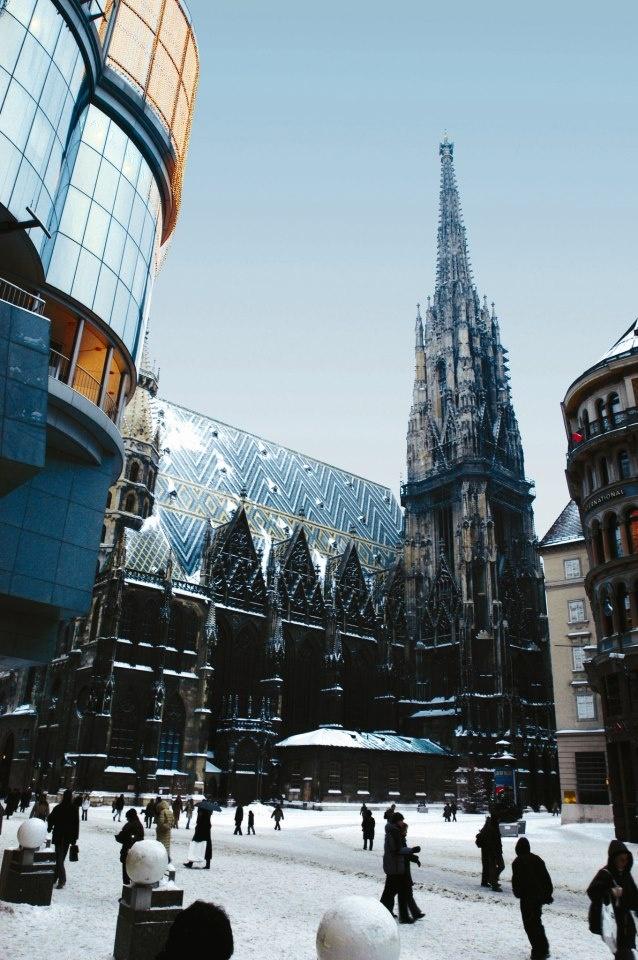 St. Stephen's Dome, Vienna, in winter http://www.travelandtransitions.com/european-travel/european-travel-top-european-river-cruise-ideas-christmas-2014/