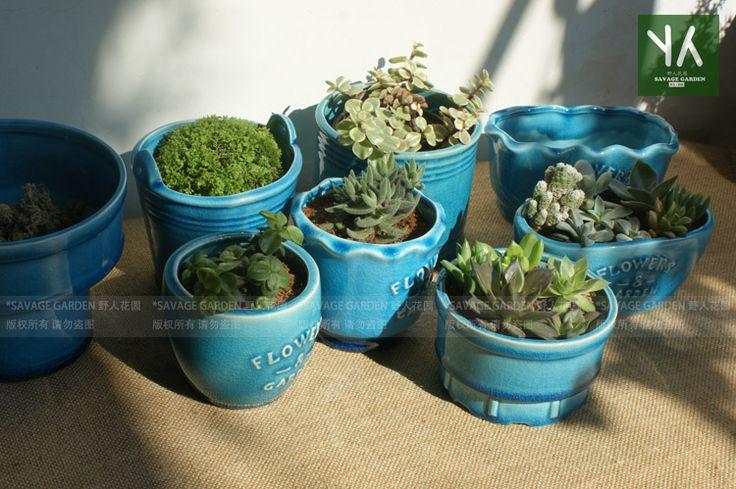 Binglie голубые керамические горшки мясистые рабочего стола небольшие горшки и растения - глобальная станция Taobao