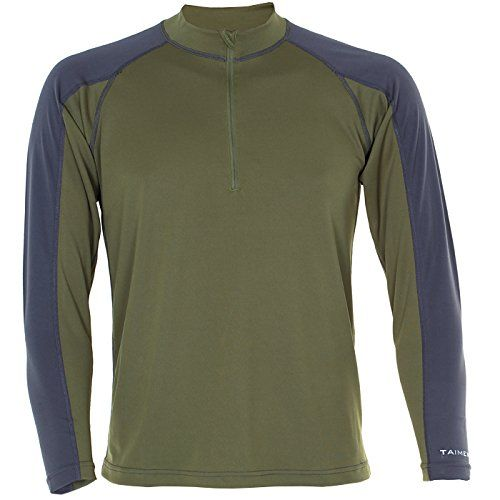 Taimen.com Taimen Brook Base Layer Zip Top Pewter/Green Spruce