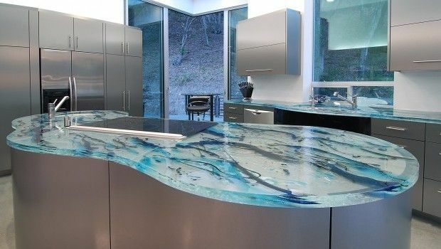 79 Best Glass Countertops Images On Pinterest Kitchens