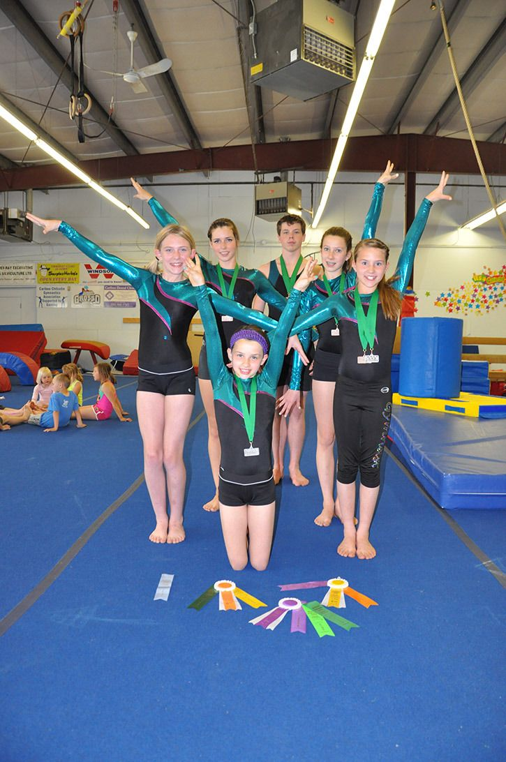 Williams Lake Gymnastics club members (from left) Ashia Chutskoff, Michaela Newberry, Thea Lutters, Andrew Bettles, Katie Chipman and Chloe Lutters recently returned from the Ogopogo Invitational Gymnastics Meet with winning medals and ribbons [Williams Lake Tribune]