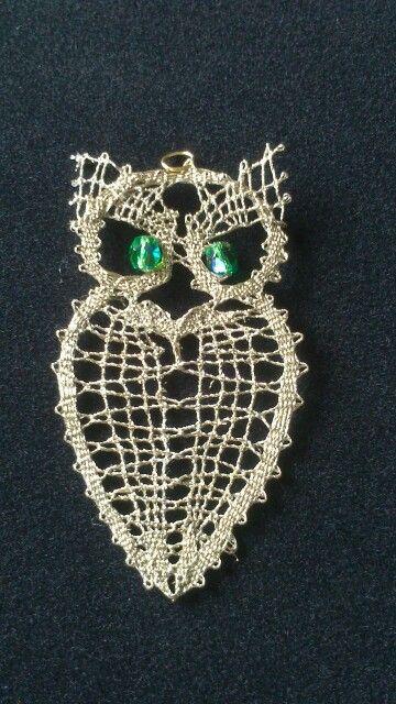 Bobbin lace - owl. Love it...