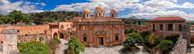 Unique panoramic view of the Agia Triada Monastery or Holy Monastery of Saint Trinity. It is located in Chania regional unit of Crete -Greece. #holy #monasteries #greece #monastery #mount #athos #monastiria #orthodoxy #saint #trinity #agia triada #tsagarolon