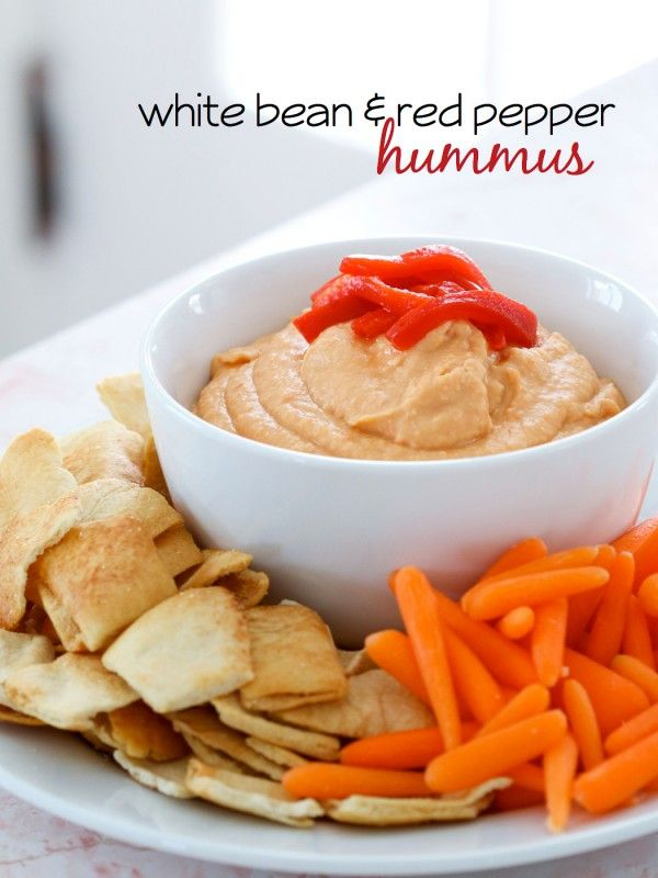 Oh yes, this healthy, fresh gorgeousness is SO happening --> White Bean and Red Pepper Hummus // store in covered bowl in fridge for snack attacks, team with veggies via Michael Wurm, Jr. and BHG #appetizer #protein #prepday