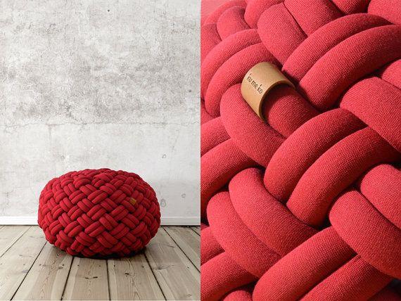 KNOTTY floor cushion 80x80x40 cm ( deep red) kumekodesign.etsy.com